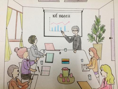 Một buổi họp của Nghiệp đoàn giáo chức Việt Nam- hình minh họa bởi Ty Lê