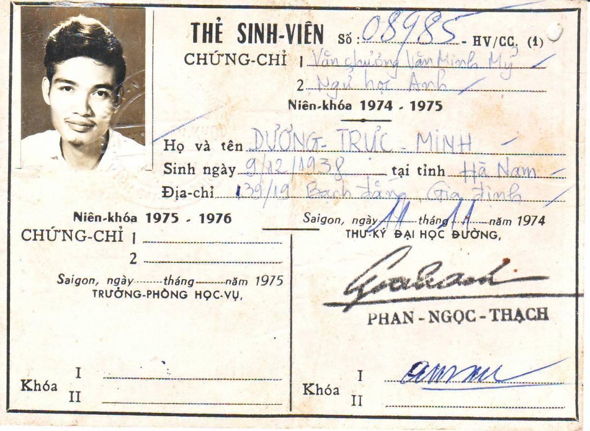 Tư liệu quý: Đã tìm được thẻ sinh viên của trường đại học Văn Khoa SàiGòn!